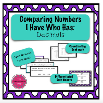 Comparing Numbers Game - I Have Who Has - Decimals