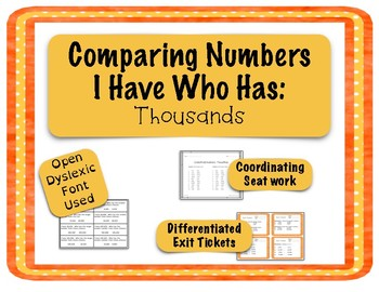 Comparing Numbers Game - I Have Who Has - Thousands