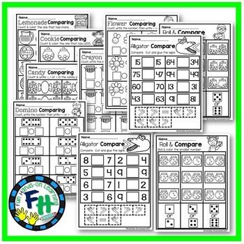 Comparing Numbers Interactive Worksheets {Kindergarten & First Grade}