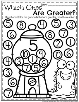 Comparing Numbers For Kindergarten Worksheets