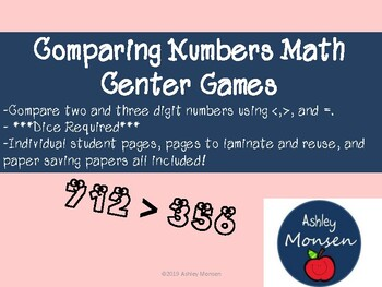 Comparing Numbers Math Center Game