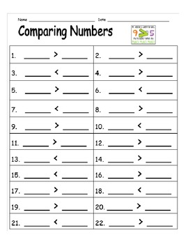 Comparing Numbers Math Centers - Task Cards and Recording Sheet