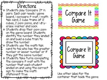 Comparing Numbers Math Game