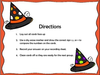 Comparing Numbers Halloween Math Station Designed with Differentiation in Mind