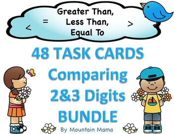 Comparing Numbers Math Task Card BUNDLE for Greater Than, Less Than, Equal To