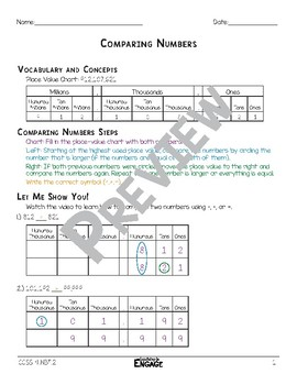 Comparing Numbers Math Video & Worksheet