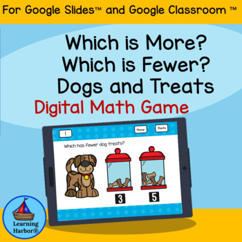 Comparing Numbers More or Fewer for Google Classroom Distance Learning Dogs