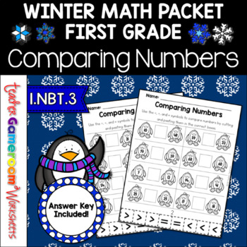 Comparing Numbers Penguin Theme  A Cut and Paste Activity- 1.NBT.3