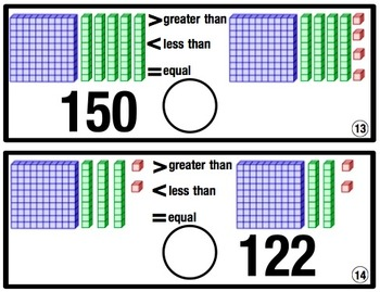 Comparing Numbers Practice Cards and Worksheets