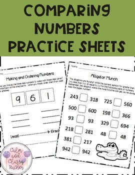 Comparing Numbers Practice Sheets (Greater Than/Less Than and Least to Greatest)