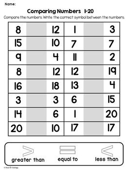 Comparing Numbers No Prep Printables