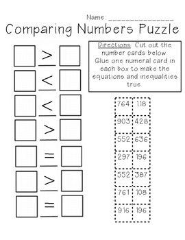 Comparing Numbers Puzzle 3-digit