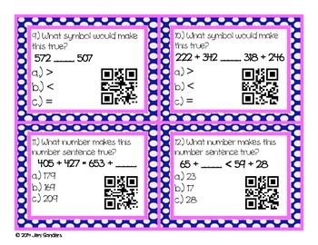 Comparing Numbers QR Code Cards and Task Cards