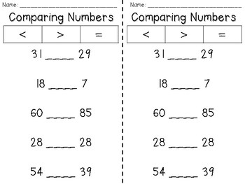 Comparing Numbers - Quick Check Worksheets