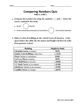 Comparing Numbers Quiz: 4th Grade