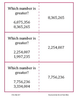 Comparing Numbers Game - Quiz and Trade - Millions