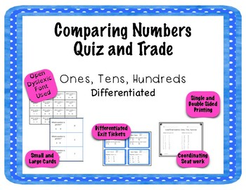 Comparing Numbers Game - Quiz and Trade - Ones, Tens, Hundreds