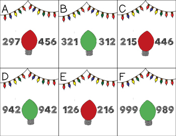Comparing Numbers Scoot - Christmas Themed