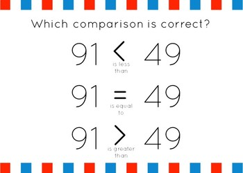 Comparing Numbers Set 4: Greater than/Less than to 100