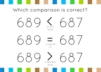 Comparing Numbers Set 5: Greater than/less than to 1000