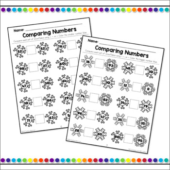 Comparing Numbers Snowflake Theme - 1.NBT.3