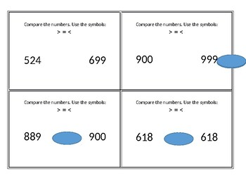 Comparing Numbers Task Cards  2.2D