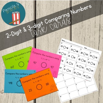 Comparing Numbers Task Cards: 2-Digit and 3-Digit Numbers