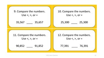 Comparing Numbers Task Cards (4-5 Digit Numbers)