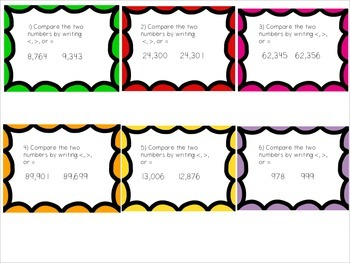 Comparing Numbers Task Cards- 4NBT2