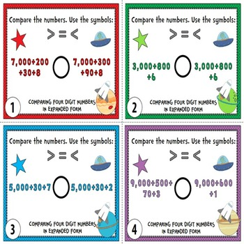 Comparing Numbers Task Cards {Compare 4-Digit Numbers}