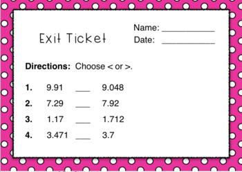 Comparing Numbers Task Cards - Decimals