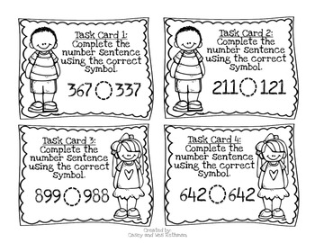 Comparing Numbers Task Cards {Greater than, less than or equal to}