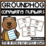 Comparing Numbers Task Cards Groundhog Theme