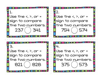 Comparing Numbers Task Cards (Hundreds Place)