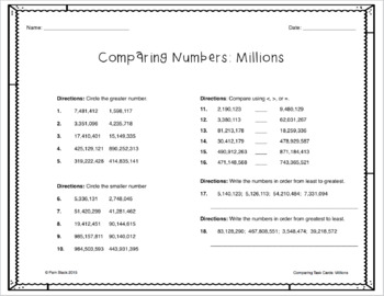 Comparing Numbers Task Cards - Millions Period