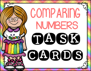 Comparing Numbers Task Cards (rainbow)