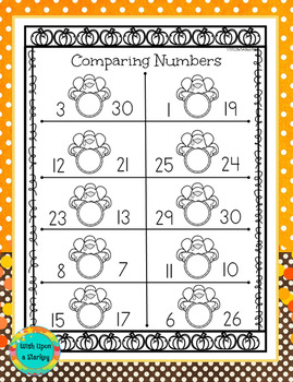 Comparing Numbers - Thanksgiving Theme