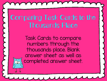 Comparing Numbers Through the Thousands Place Task Cards