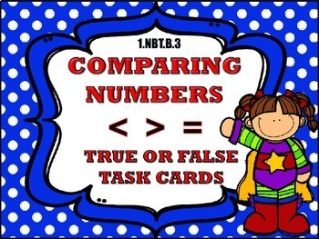 **FREEBIE** Comparing Numbers - True or False Task Cards -