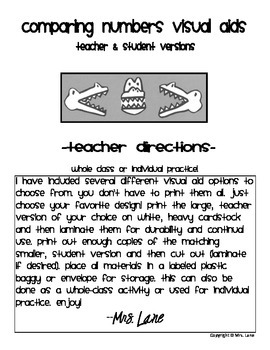 Comparing Numbers Visual Aids (With Teacher & Student Versions)
