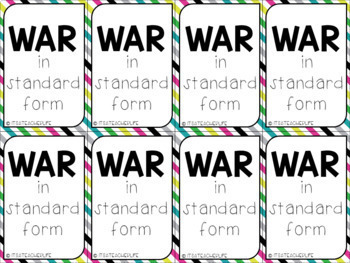 Comparing Numbers  WAR game  Standard Form Numbers