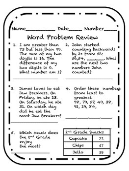 Comparing Numbers Word Problem Review Worksheet