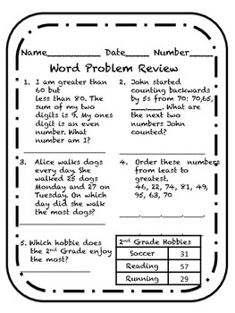 comparing numbers word problem review worksheet by life of a kindermom. Black Bedroom Furniture Sets. Home Design Ideas