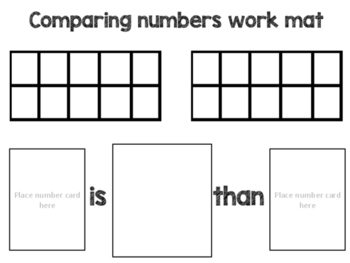 Comparing Numbers Work Mats with Vocab Cards Spanish and English