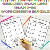 Comparing Numbers Worksheet Bundle l 0-20 Greater Than Les
