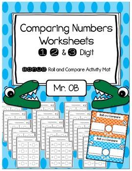 Comparing Numbers Worksheets - 1 digit 2 digit 3 digit - B