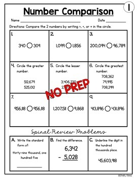 Comparing Numbers (Greater Than, Less Than) Worksheets