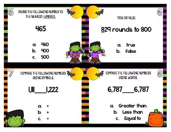 Comparing Numbers and Rounding Halloween Task Cards