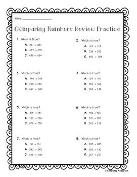 Comparing Numbers (Greater Than / Less Than) / Rounding - Multiple Choice Rigor