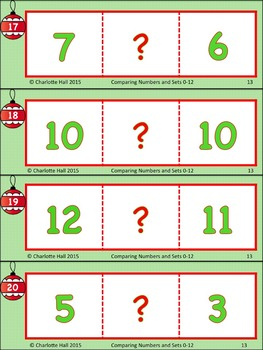 Comparing Numbers and Sets 0-12: Christmas Edition